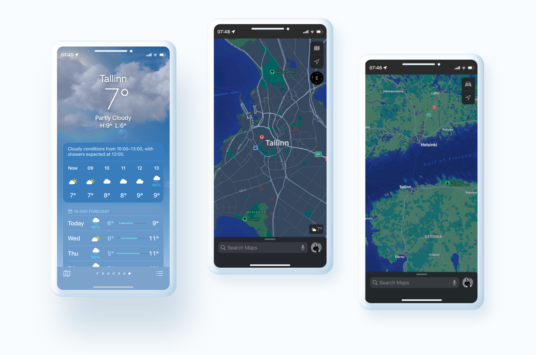 iOS 15 the Maps and Weather apps got updated visually