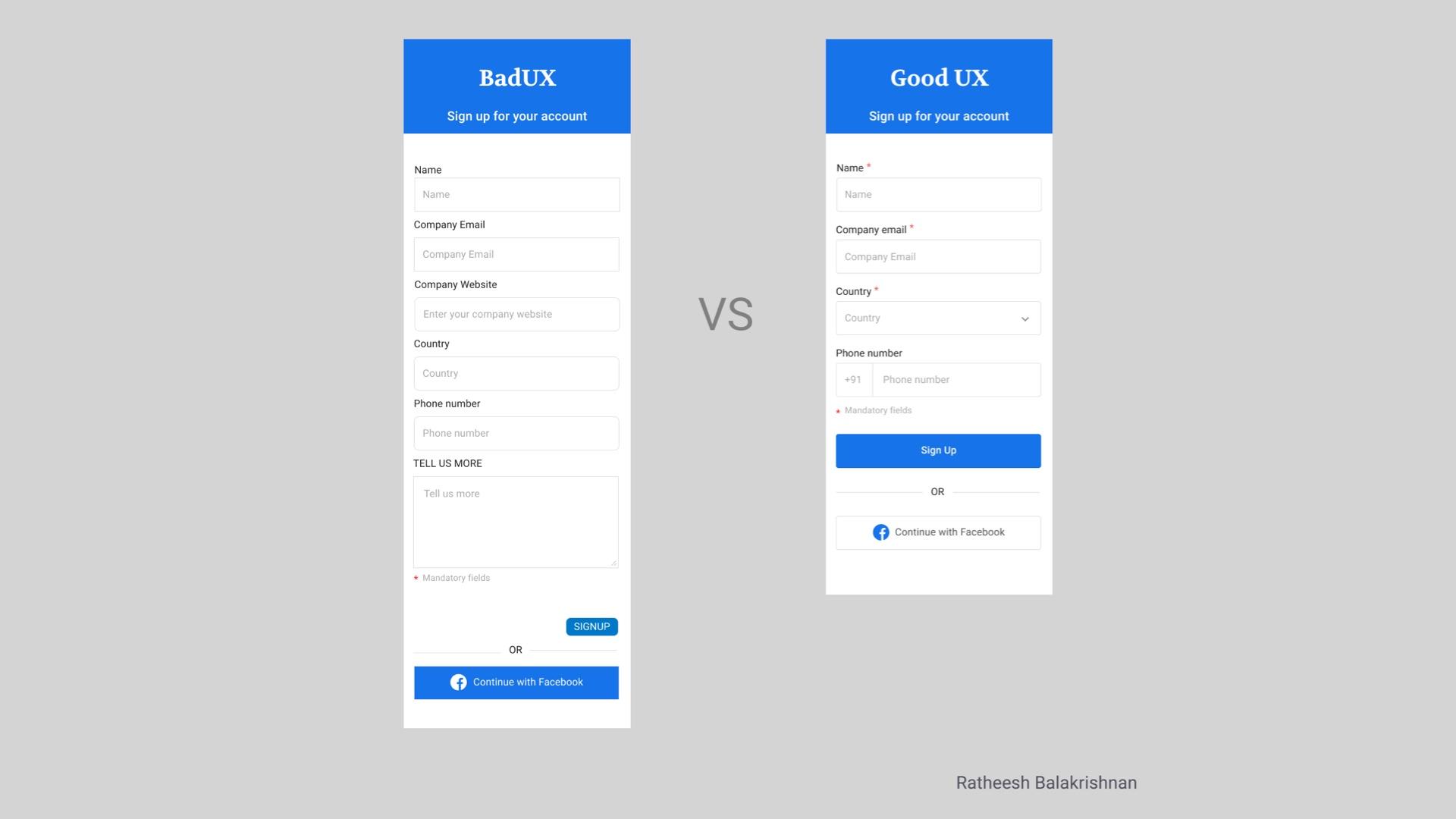 good vs bad UX design in forms