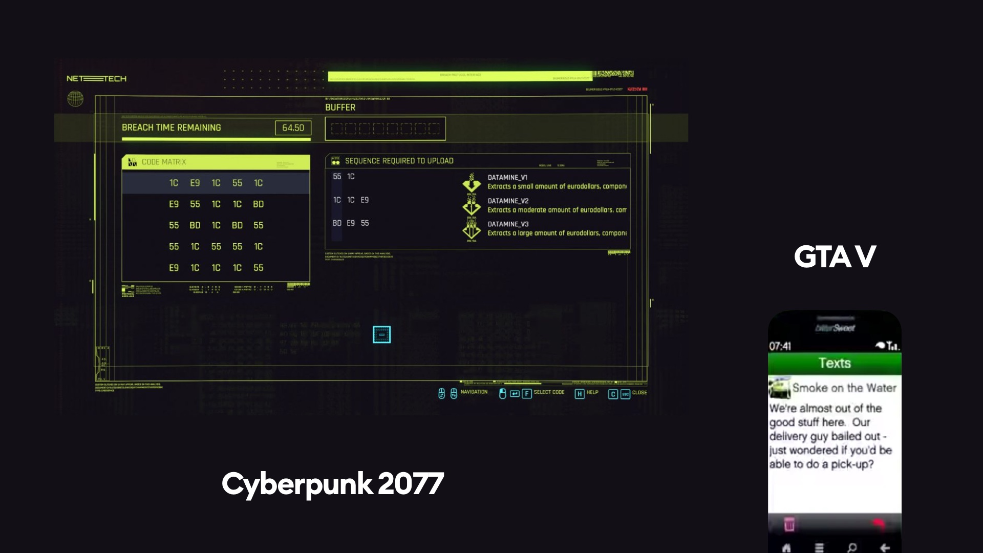 cyberpunk 2077 and GTA V game interfaces