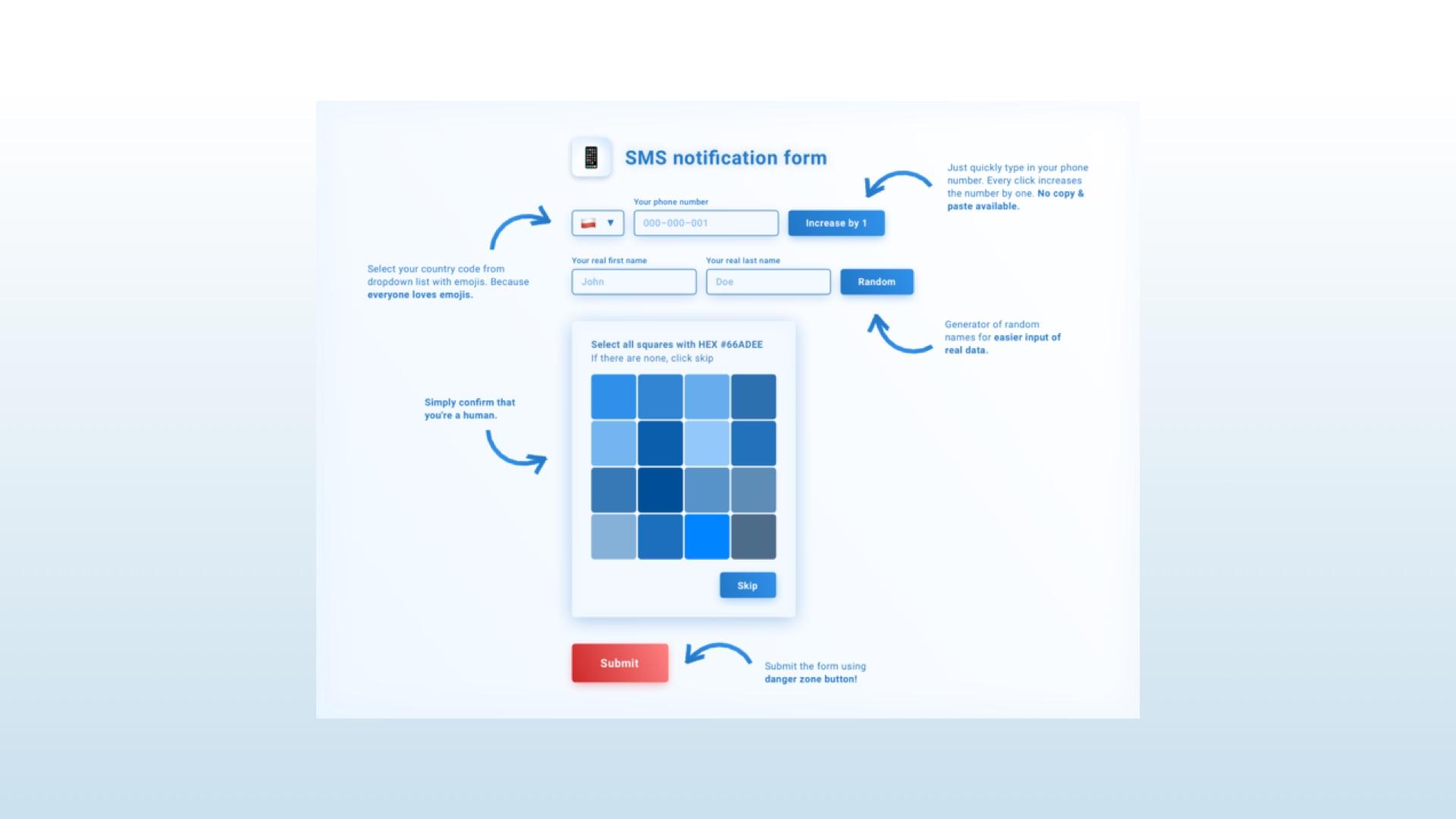 very hard to use form validation captcha