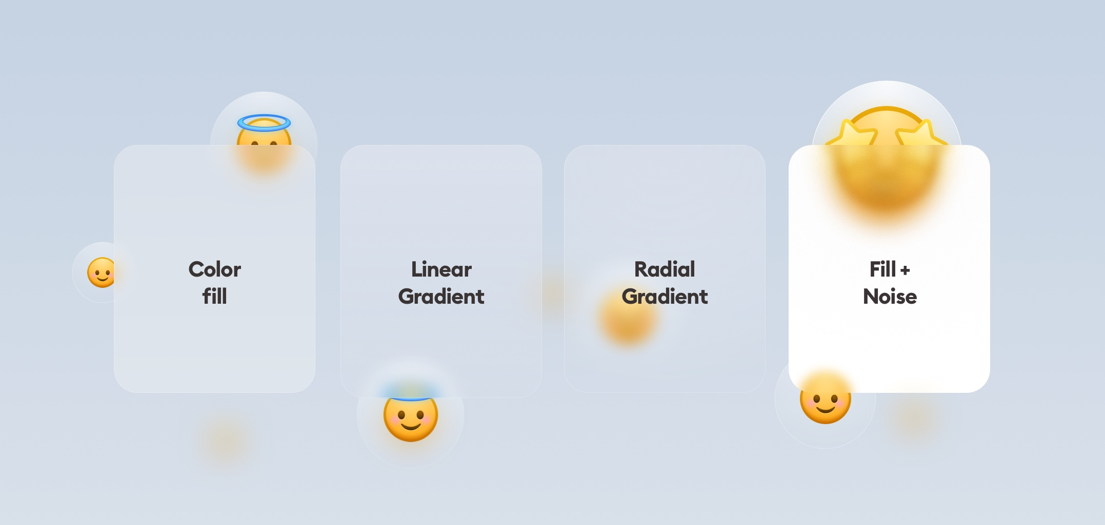 four main glassmorphism card styles