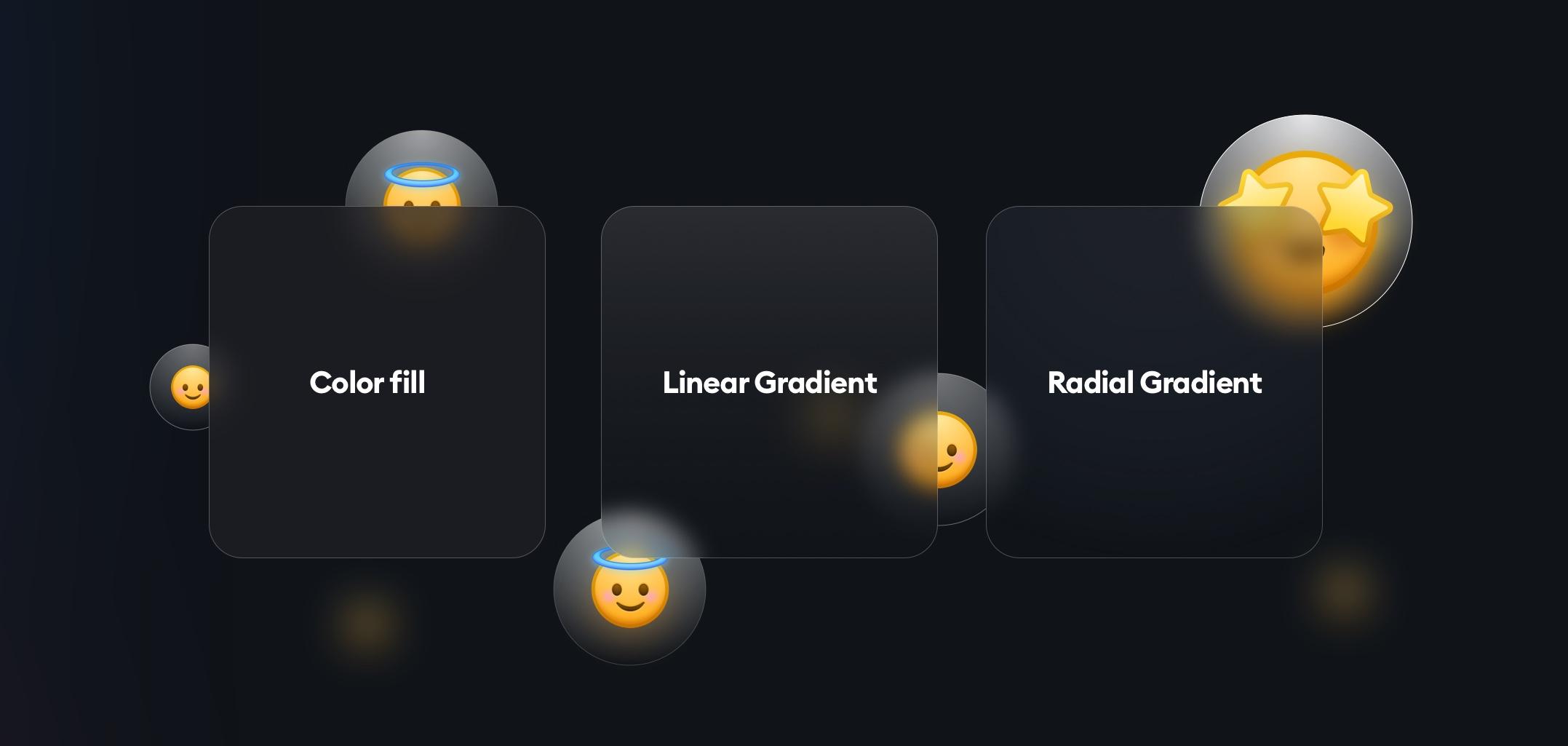 Glassmorphism card styles in Dark Mode