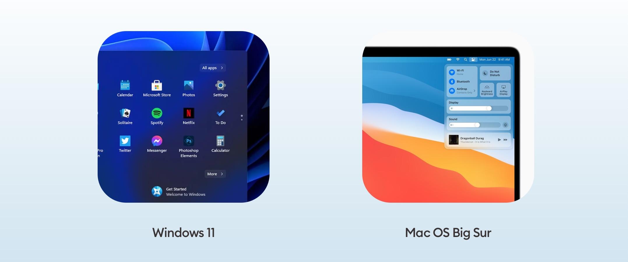 Windows 11 and Mac OS Big Sur usage of Glassmorphism UI trend