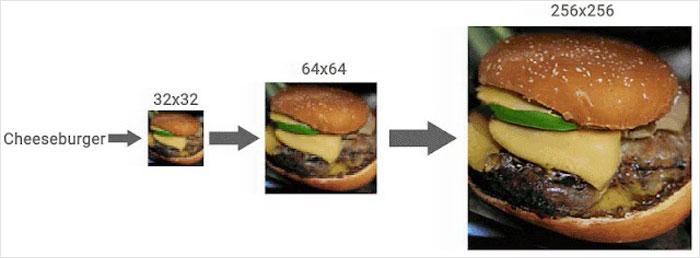 Pixellated hamburger AI sharpness enhance