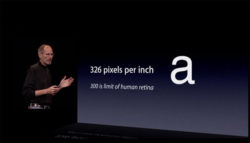 Steve Jobs introducing the retina display