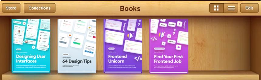 Skeuomorphism bookshelf with books on it