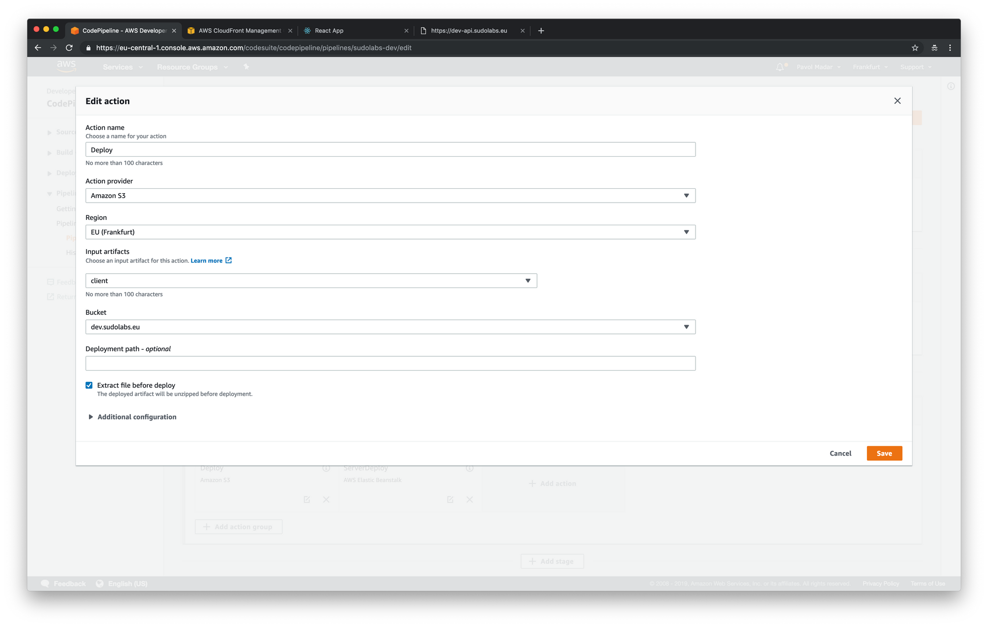 AWS CodePipeline - add input artifacts into the deploy step
