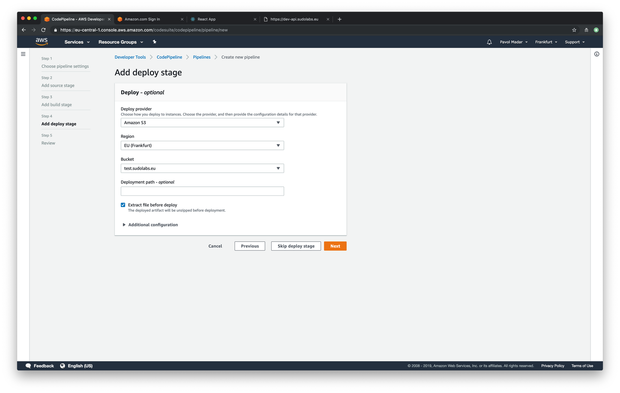 AWS CodePipeline - add deploy stage