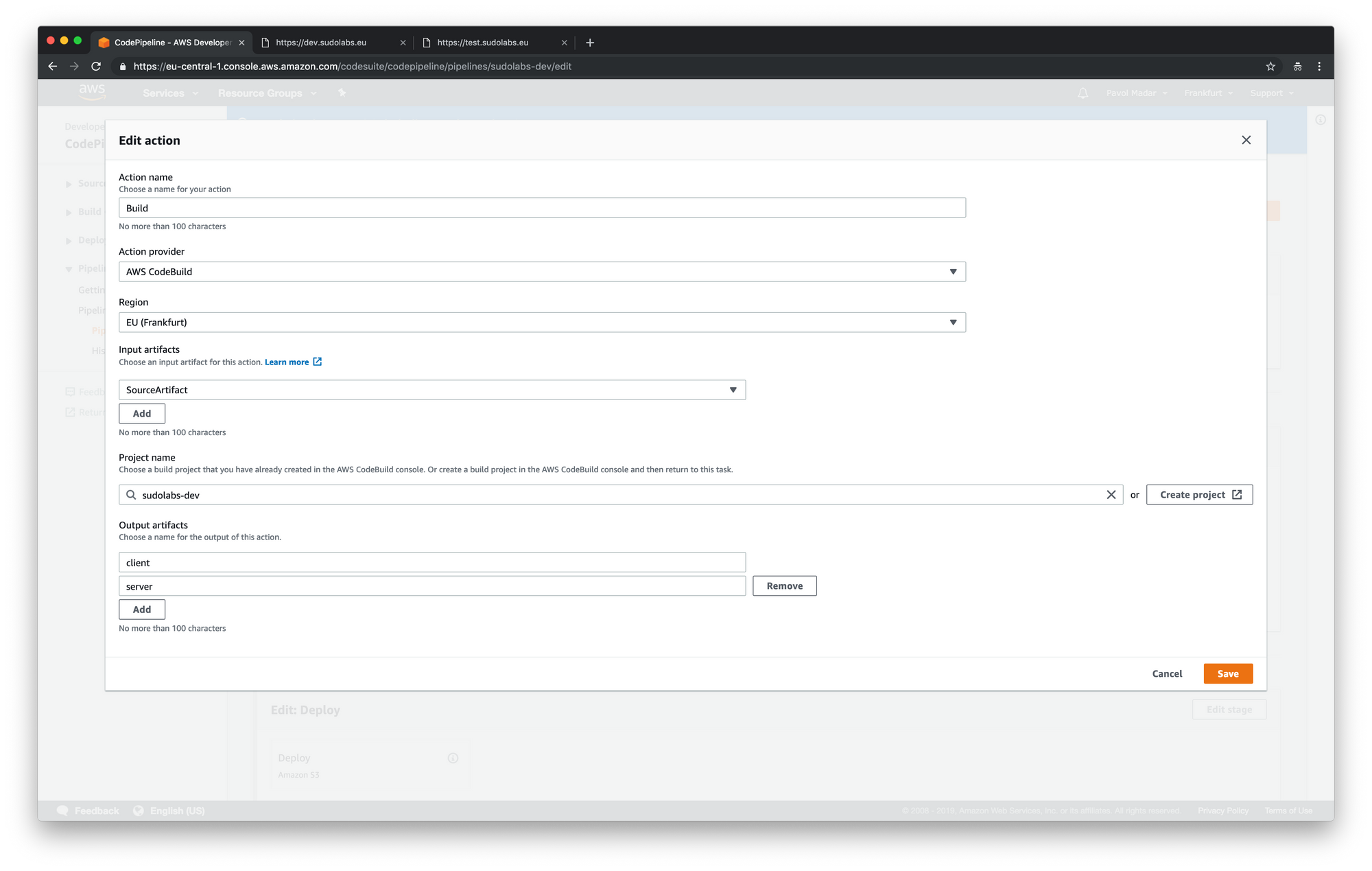 AWS CodePipeline - add output artifacts into the build step