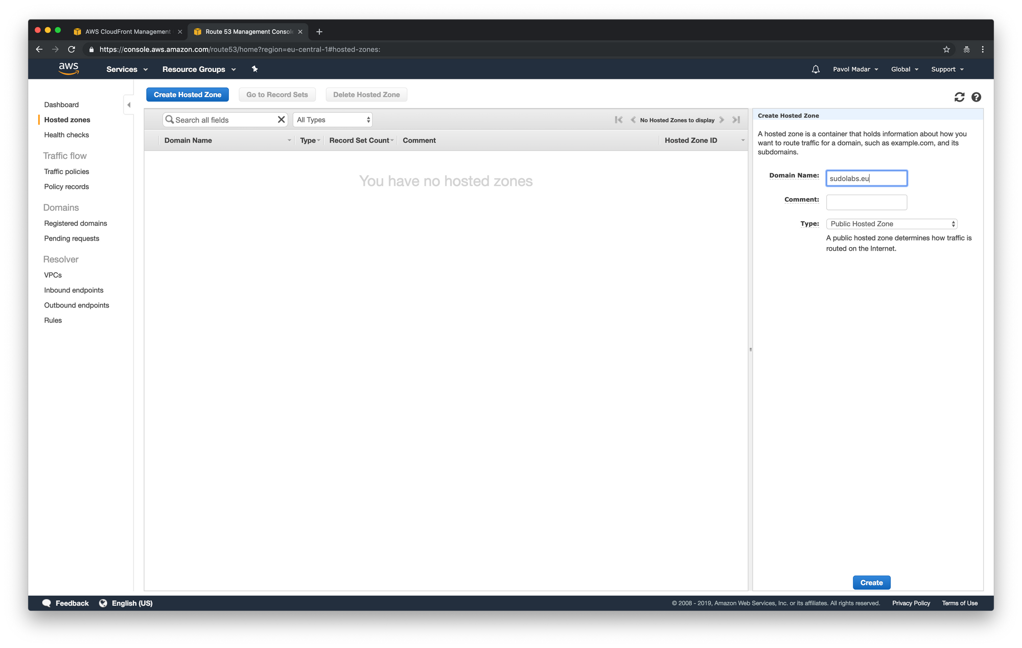 AWS Route 53 - create hosted zone