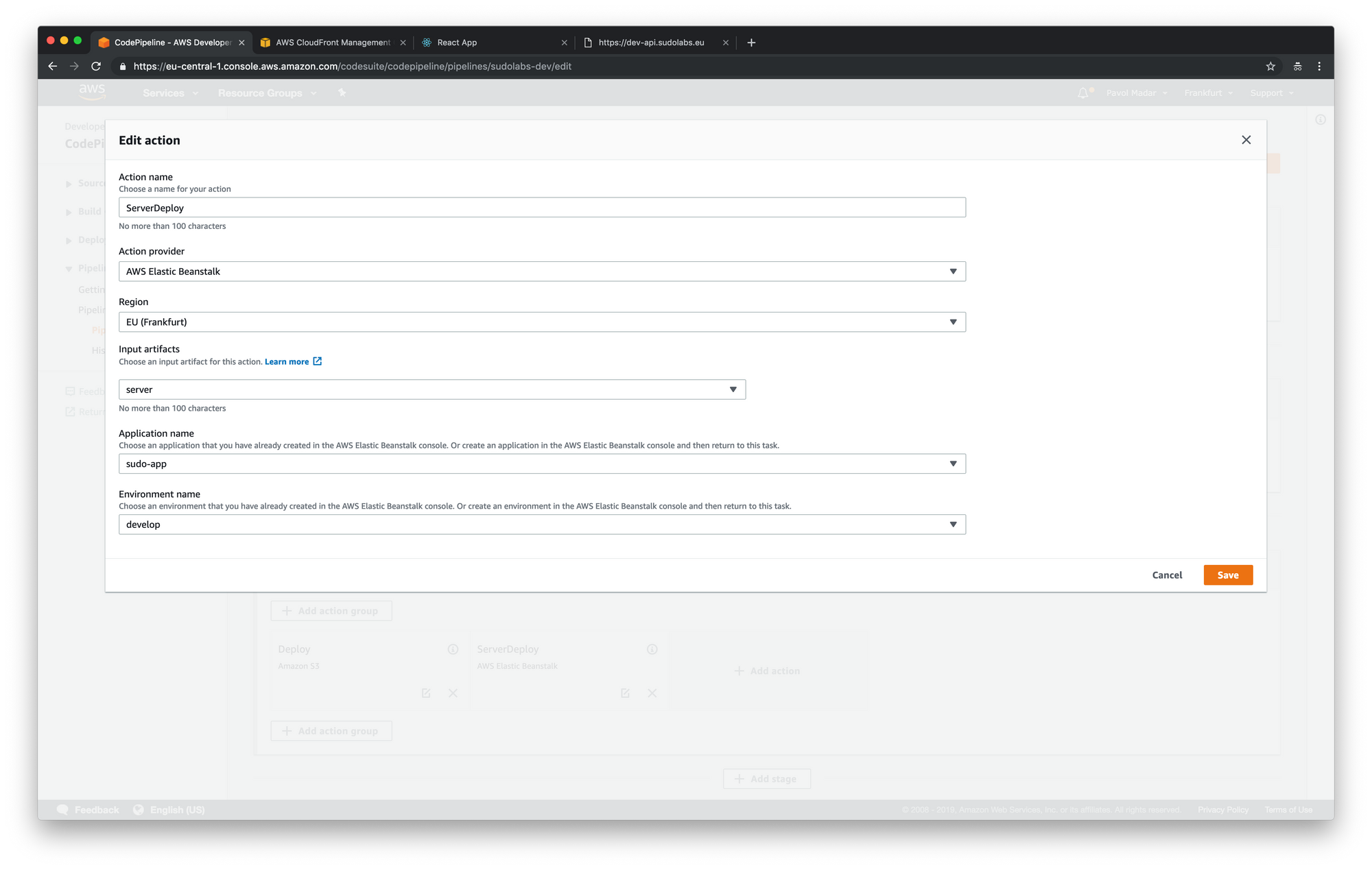 AWS CodePipeline - add action into the deploy step