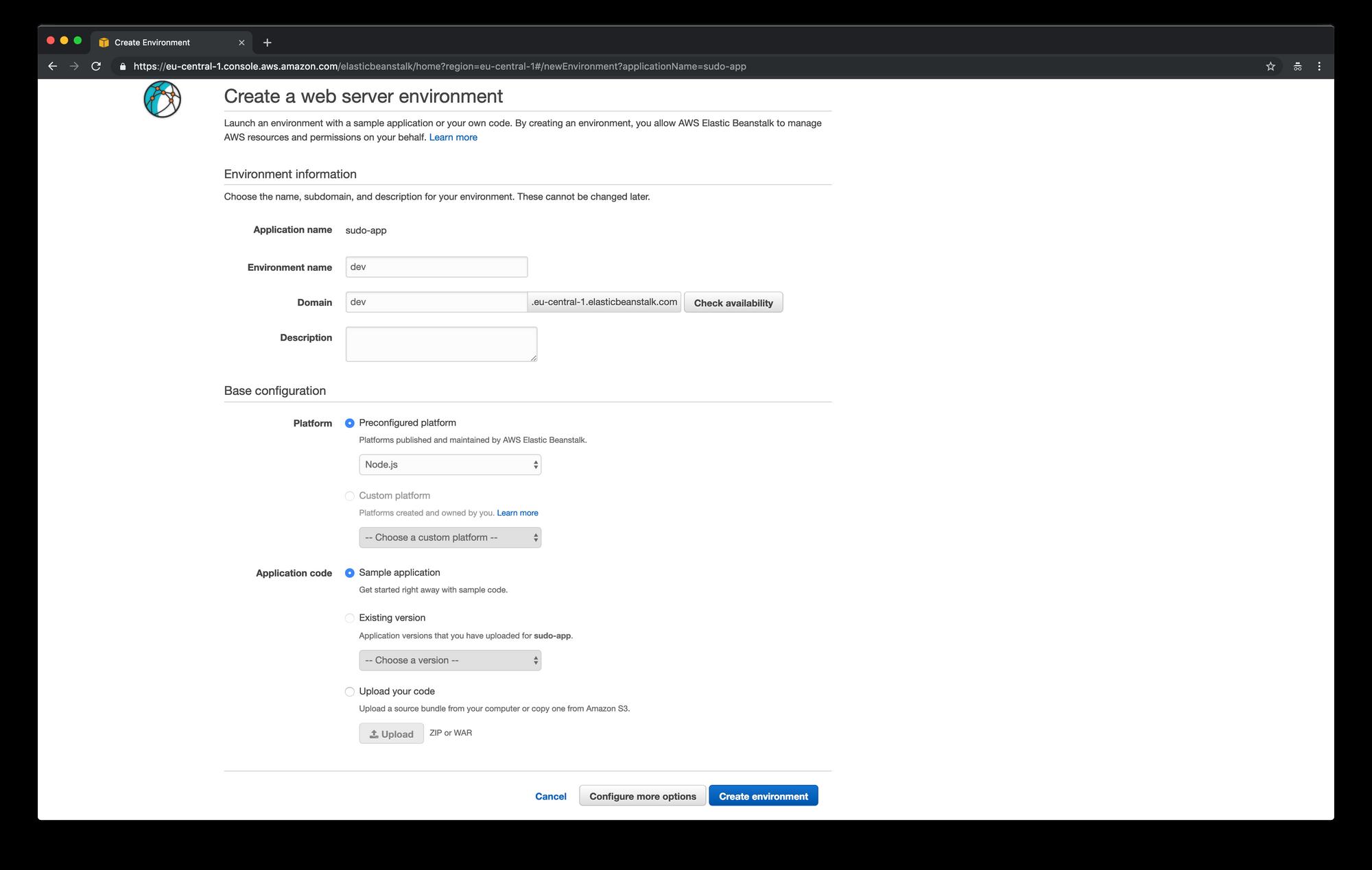 AWS Elastic Beanstalk - create a web server environment