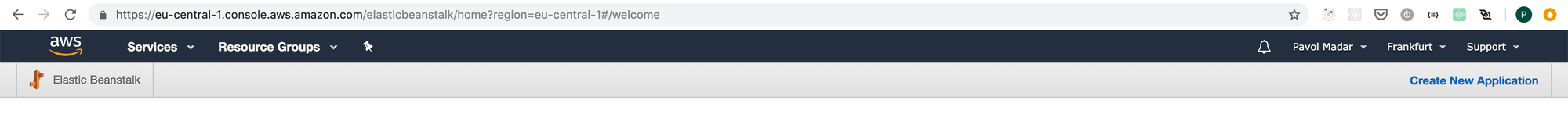 AWS console - region select in top bar