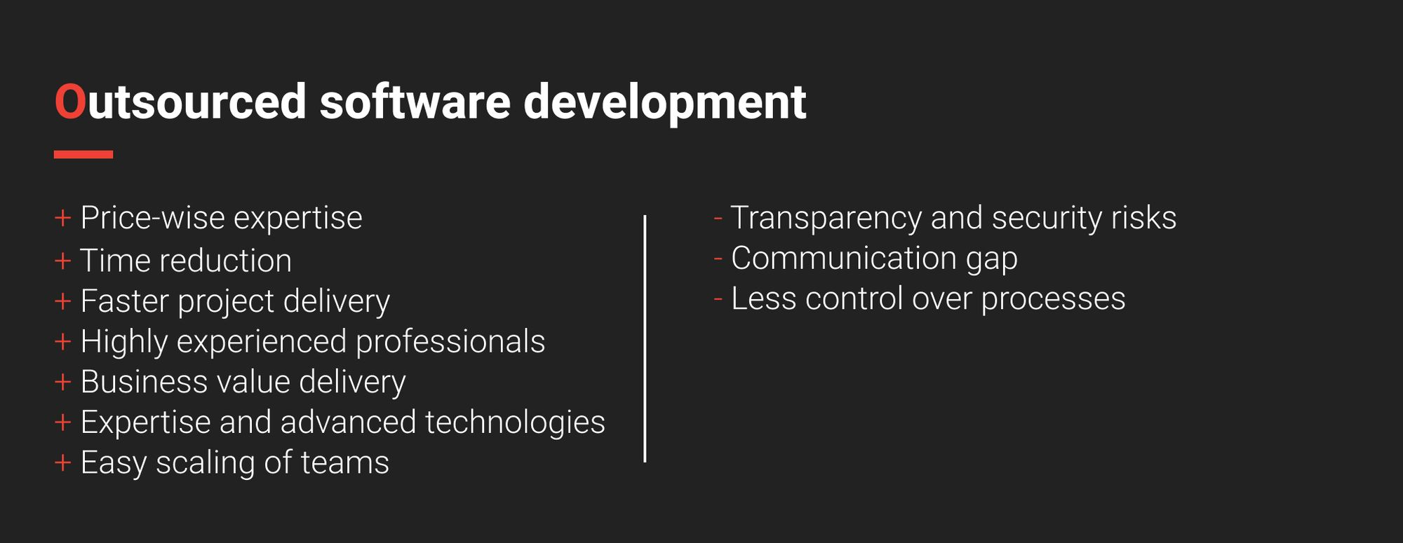 Pros and cons of outsourced software development