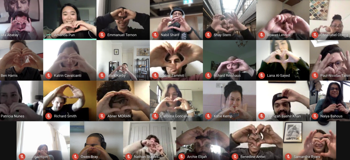 Homeppl team members making heart signs with their hands on a zoom call
