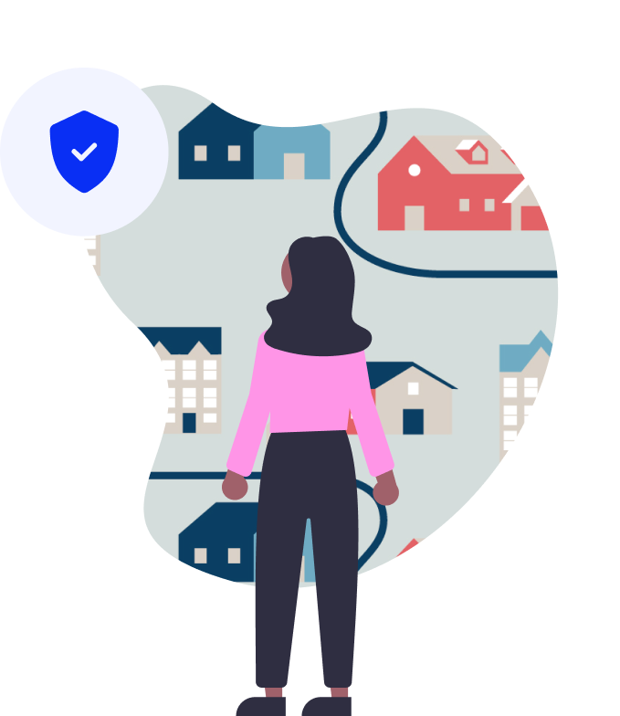 woman looking at properties with an overlay of a blue ticked shield