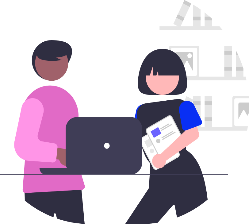 Two people holding documents and looking at a laptop