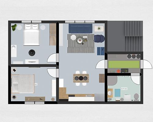 Fabulous roomle apartment d floor plan with plan 3d en ligne for Plan cuisine 3d en ligne