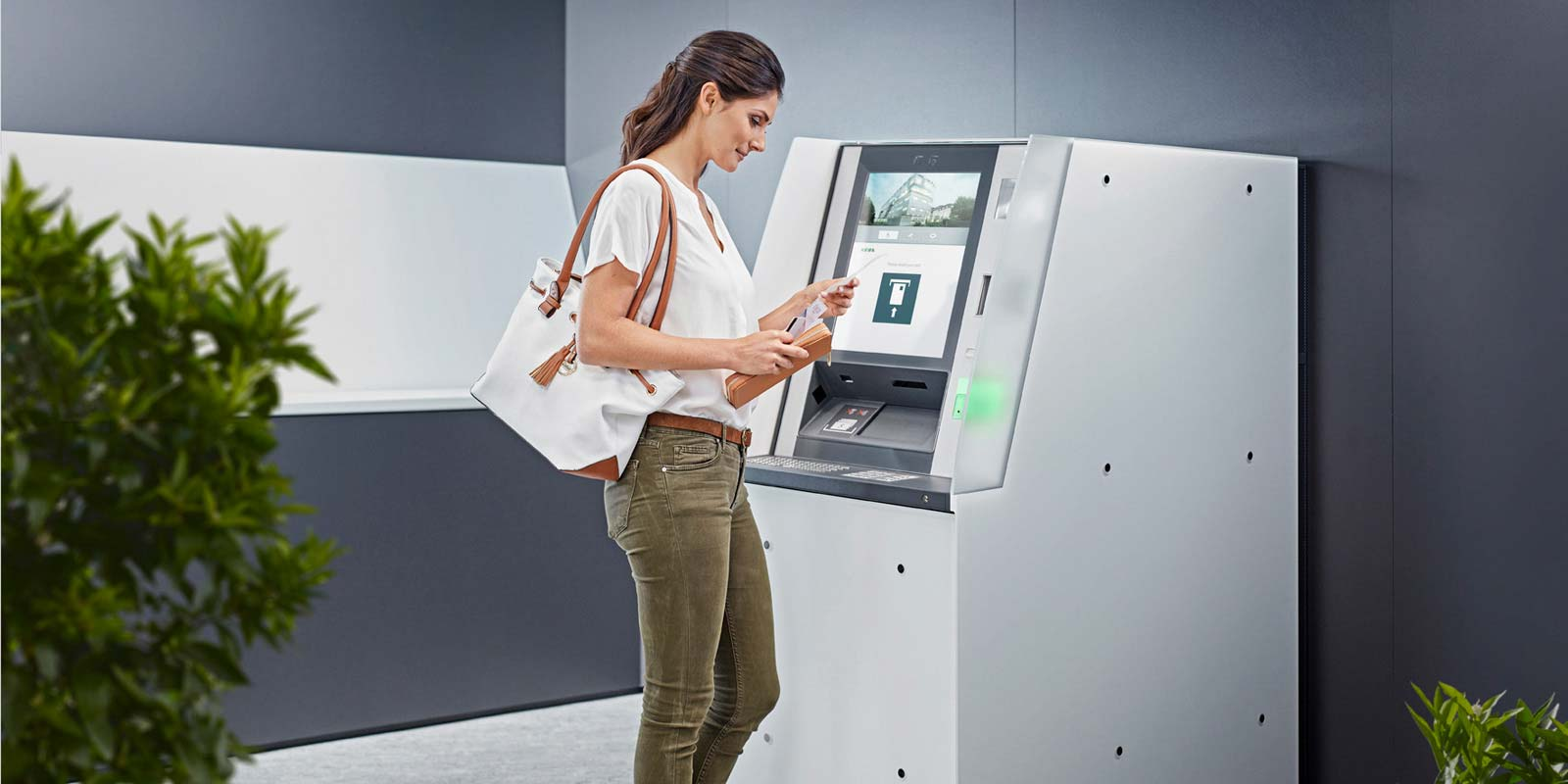 KePlus F-Line ATMs can be covered in glass or other materials to mirror the bank's corporate identity.