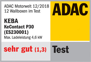 "ADAC test with the overall rating ""very good"" for the KEBA KeContact P30 wall box"