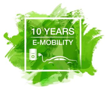 10 Years E-Mobility Logo - Wallbox + E-Ladestation