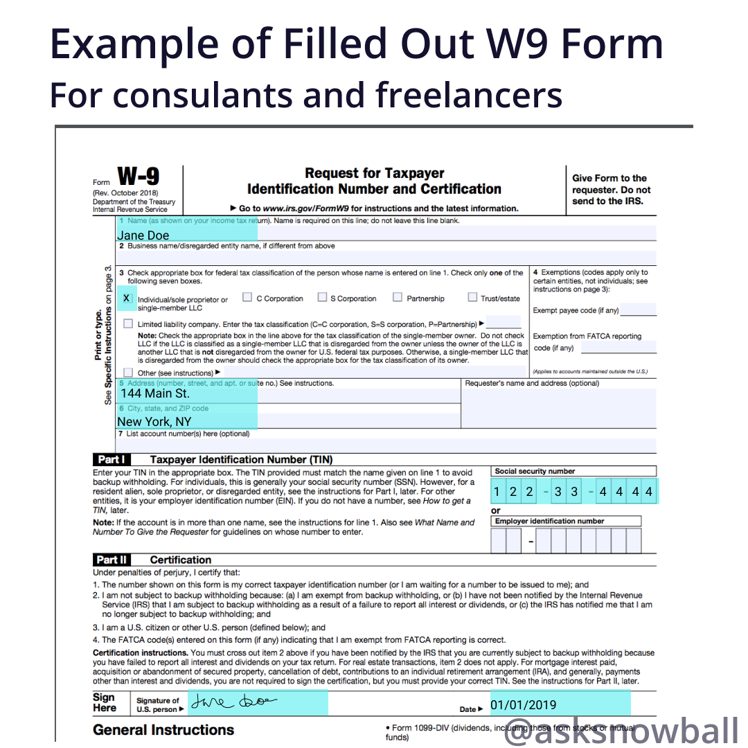 completed w 9 form example  How to Fill out a W-7 2017