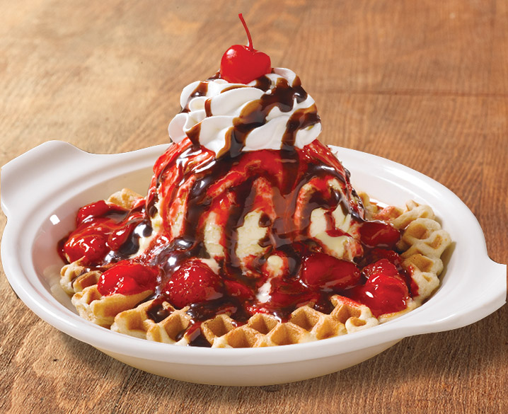 Chocolate Covered Strawberry Waffle Sundae