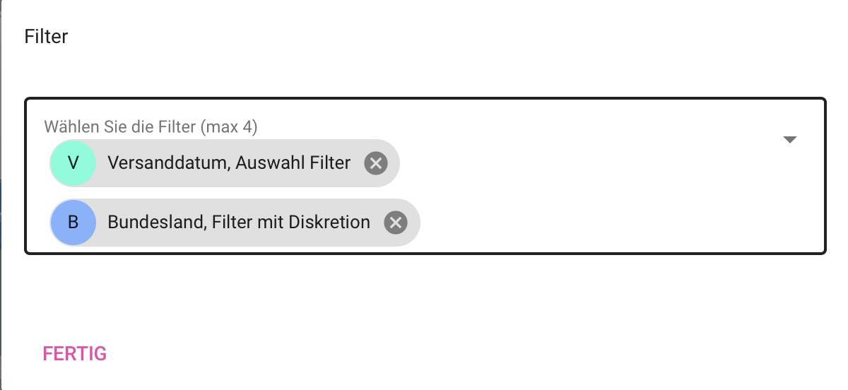 Filter in der automatischen Dashboard Erstellung auswählen