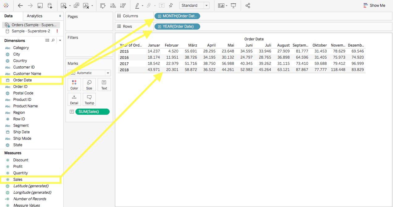 Zeitabhängige Daten zu dem Arbeitsblatt in Tableau hinzufügen.