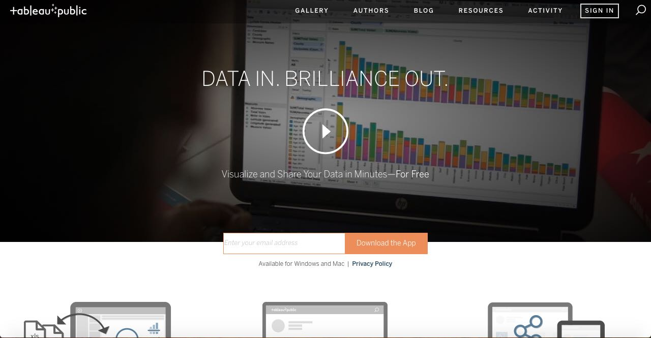Tableau Public is available for free