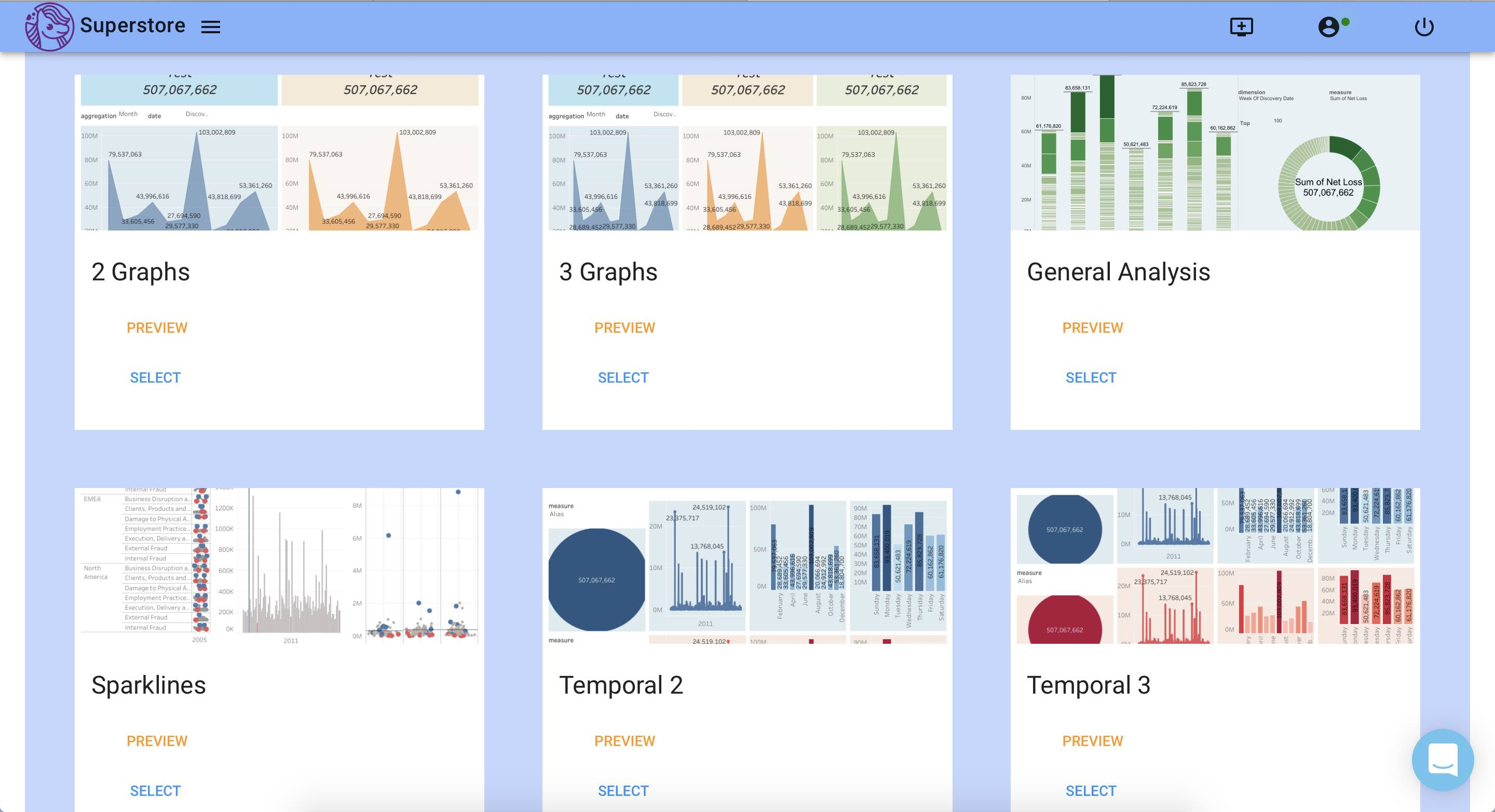 Dashboards selection