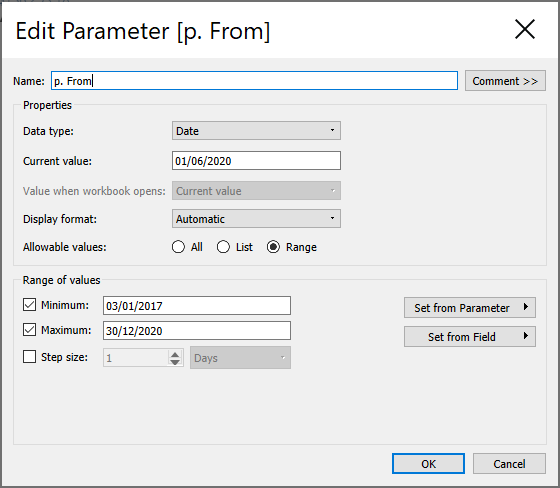Tableau From Parameter