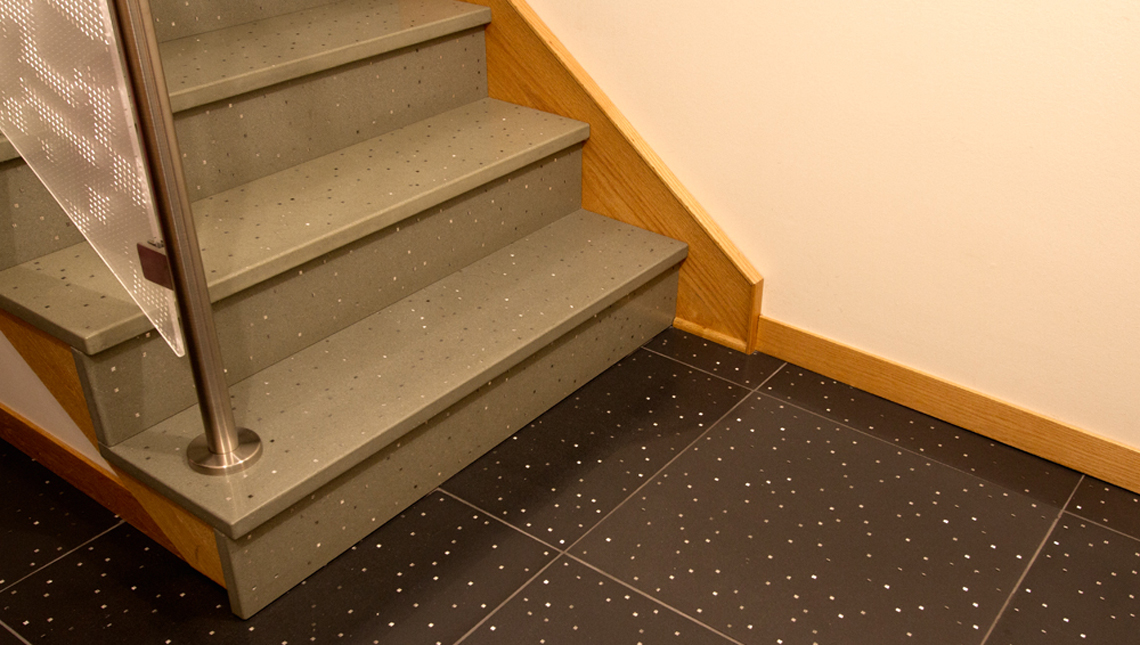 Stairs Treads, Risers and Contrasting Floor Tiles