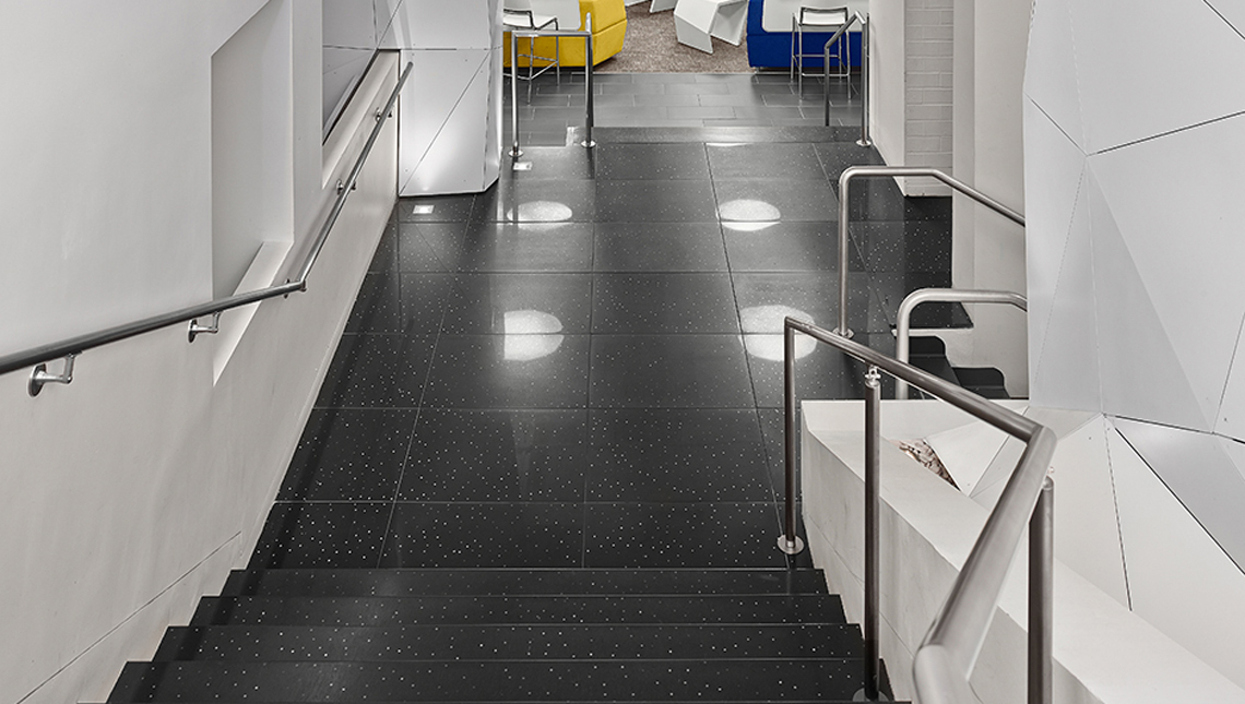 Floor tiles, risers and treads in a University