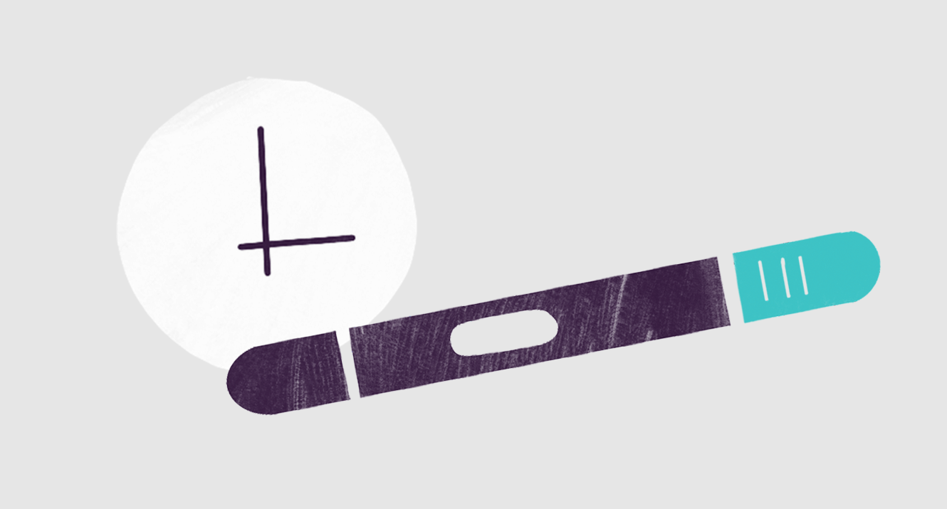 pregnancy test with illustration