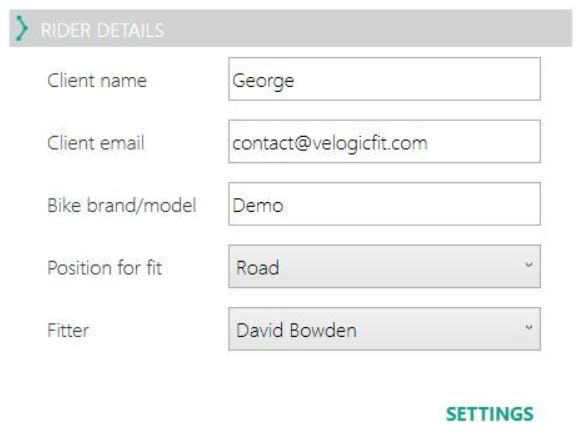 Settings button on Rider Details area