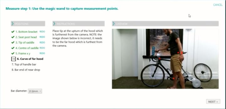 Bike measurement window