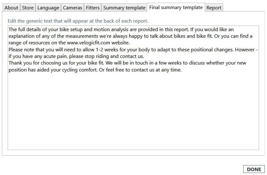 Final summary template tab