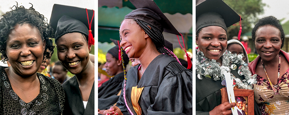 Left: A graduate with a relative. Centre: A graduate smiles in her cap and gown. Right: A graduate with a family member.