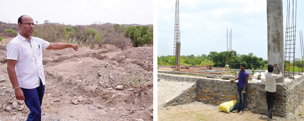 Left: A man points at where the new school will be constructed. Right: Construction on the new school.