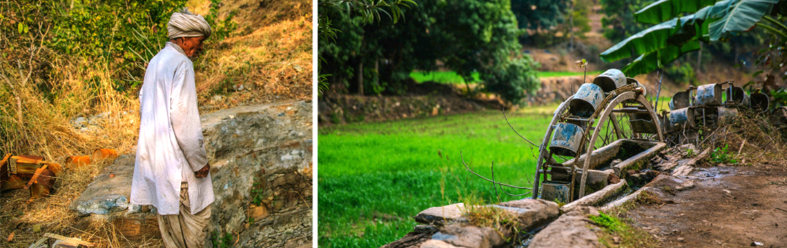 Left: Kharta Ram. Right: A well.