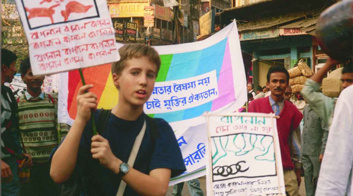 Craig joins a protest to end child-slavery in the streets of India
