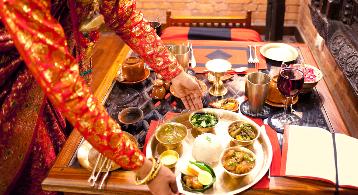 A delicious food setting at the Araveli Lodge, India