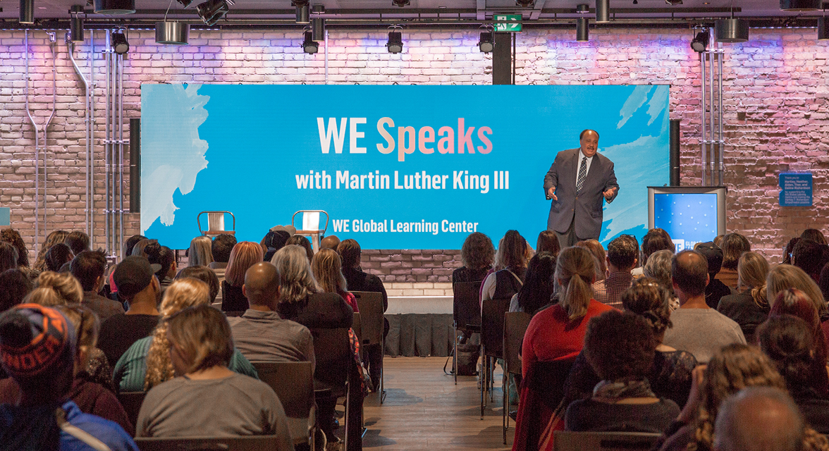 Martin Luther King III speaking at the WE Global Learning Center for a WE Speaks event
