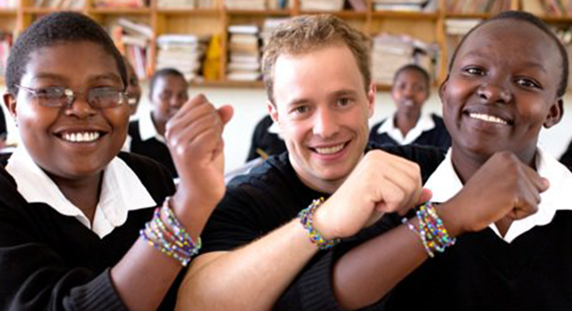 Marc with students in Kenya
