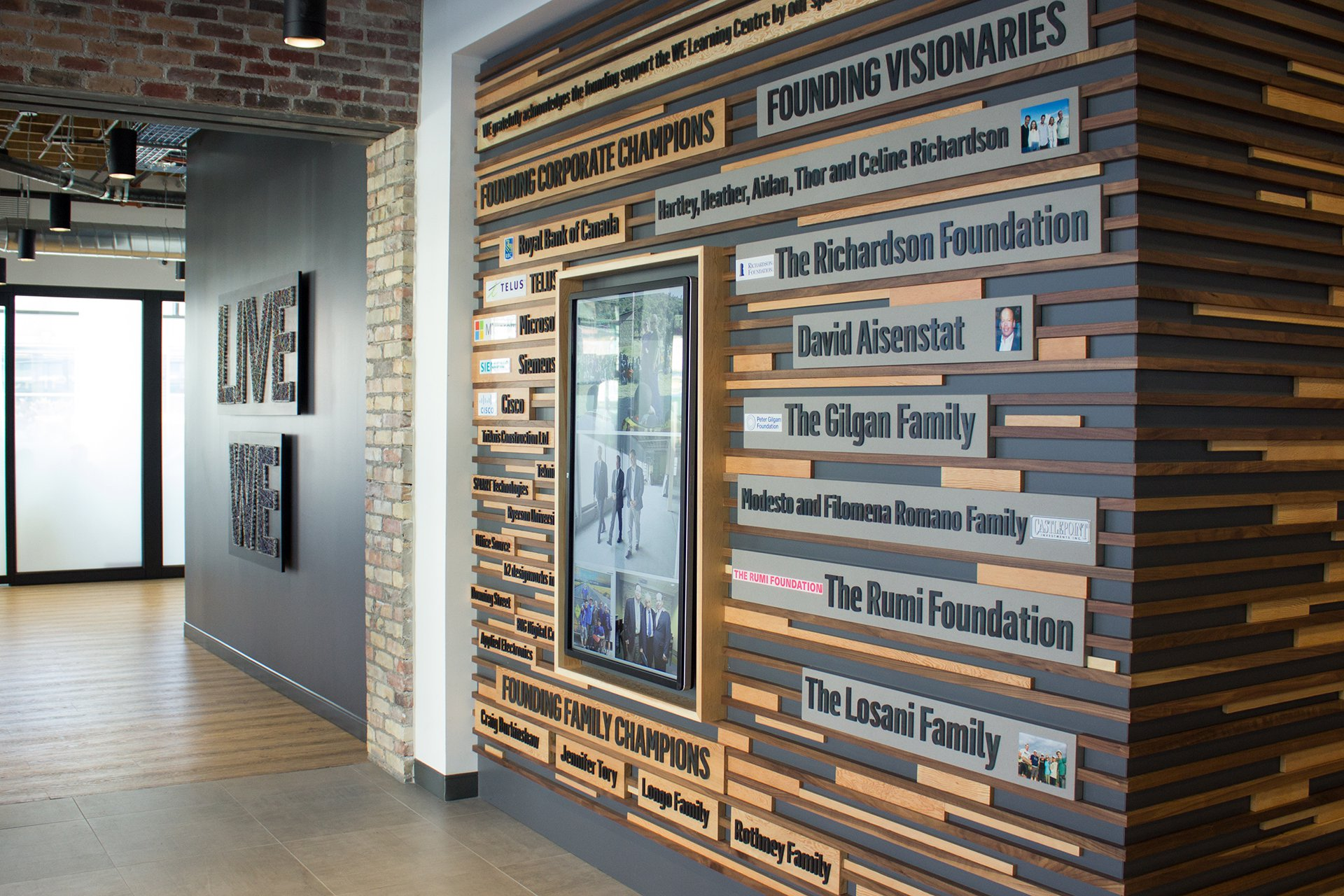 The Founder's Wall thanks the generous donors who made the WE Global Learning Center possible.