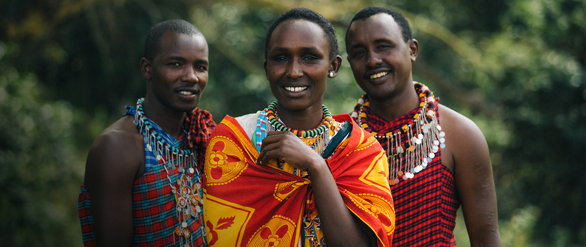 Local Kenyan community members in traditional clothing