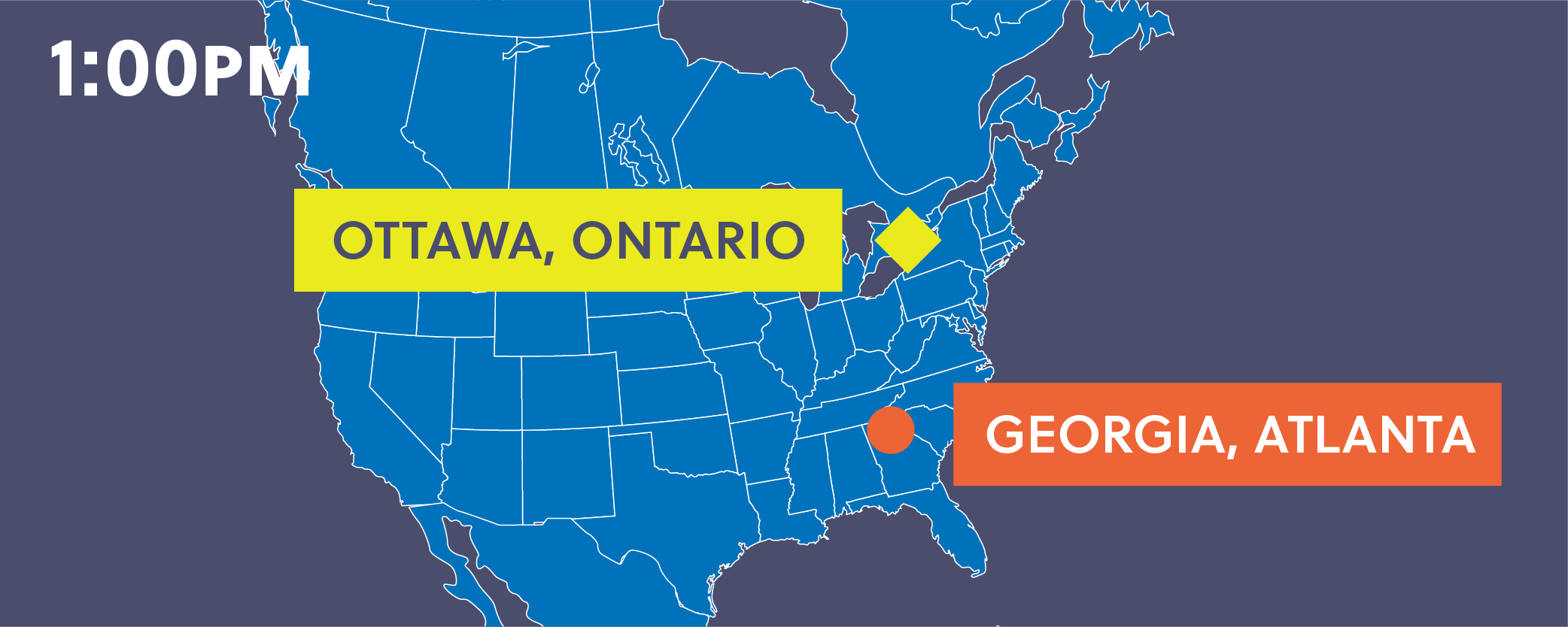 Map showing Ottawa, Ontario, and Georgia, Atlanta.