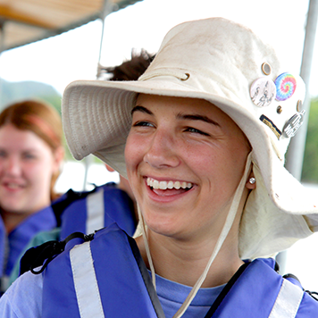 Young travellers smiling on a boat