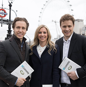 Craig and Marc Kielburger and Holly Branson promoting book, WEconomy